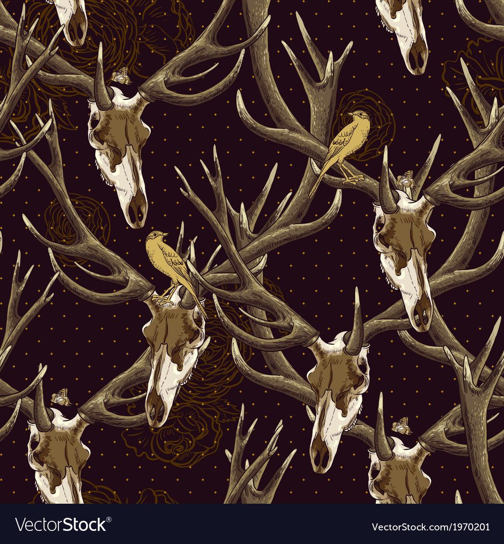 Vintage seamless background with a deer skull vector | Price: 1 Credit (USD $1)