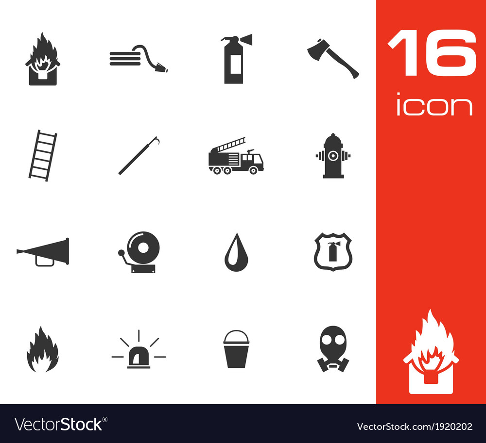 Black firefighter icons set vector | Price: 1 Credit (USD $1)