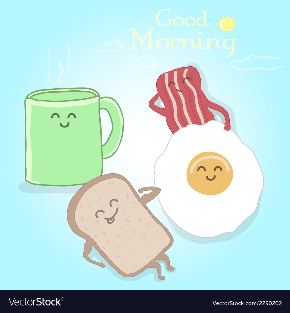 Breakfast cute happy vector | Price: 1 Credit (USD $1)
