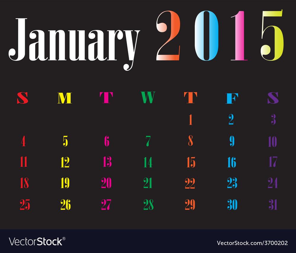 Calendar january 2015 vector | Price: 1 Credit (USD $1)