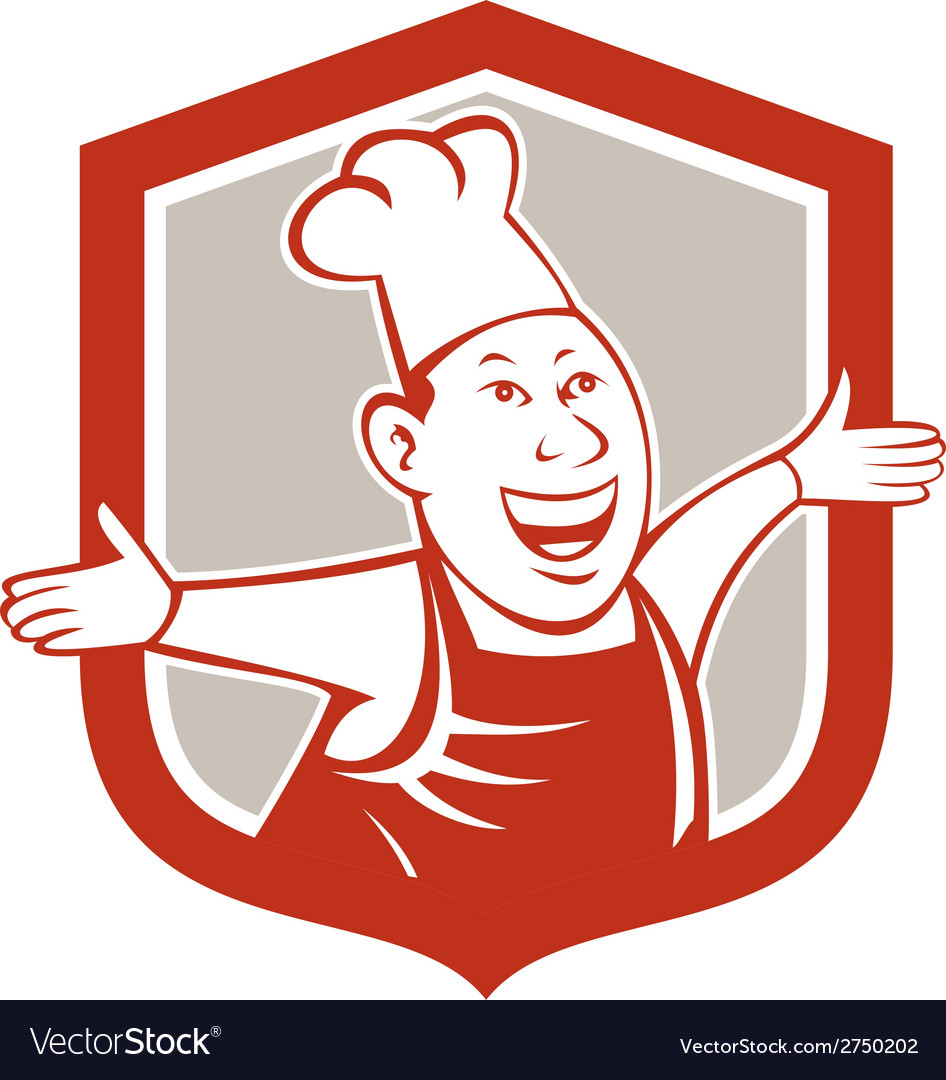 Chef cook happy arms out shield cartoon vector | Price: 1 Credit (USD $1)