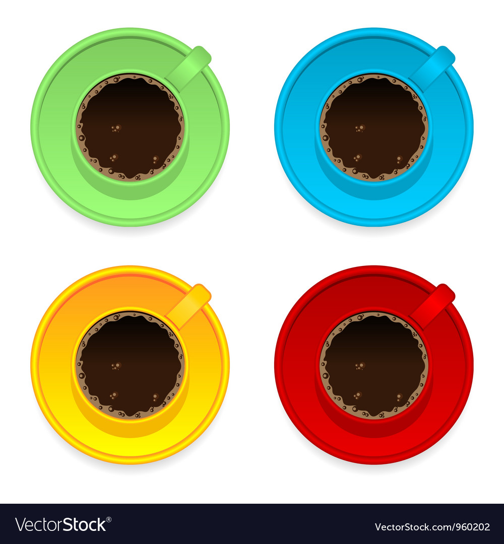 Colorful coffee cups vector | Price: 1 Credit (USD $1)