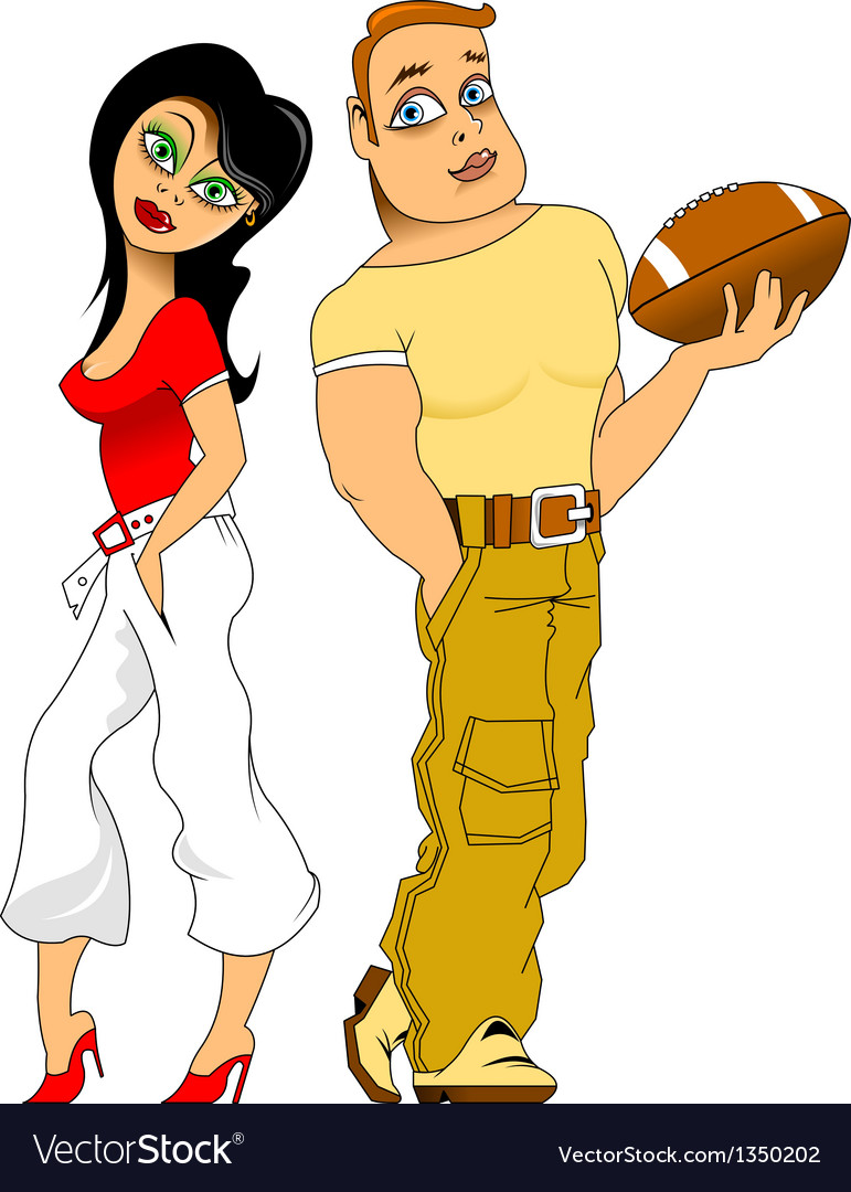 Footballer and cheerleader vector | Price: 1 Credit (USD $1)