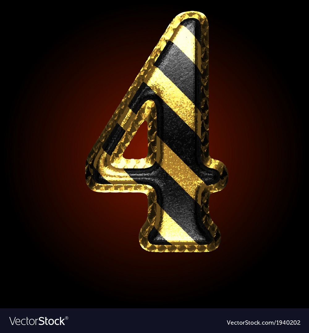 Golden and black letter 4 vector | Price: 1 Credit (USD $1)