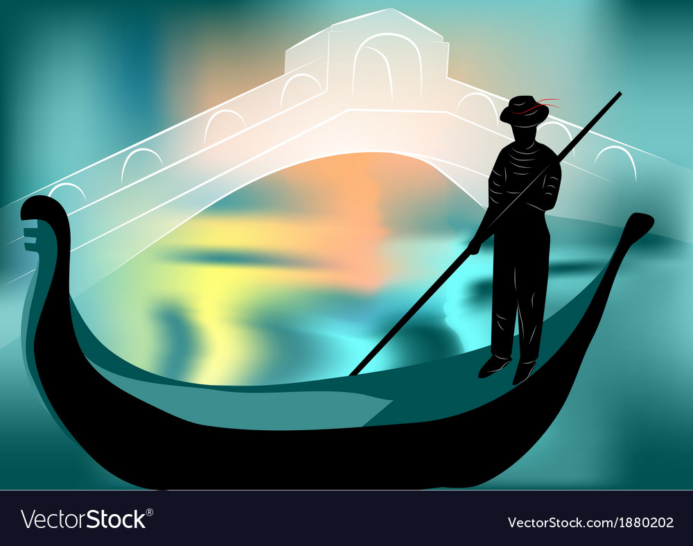 Gondolier in the evening city vector | Price: 1 Credit (USD $1)