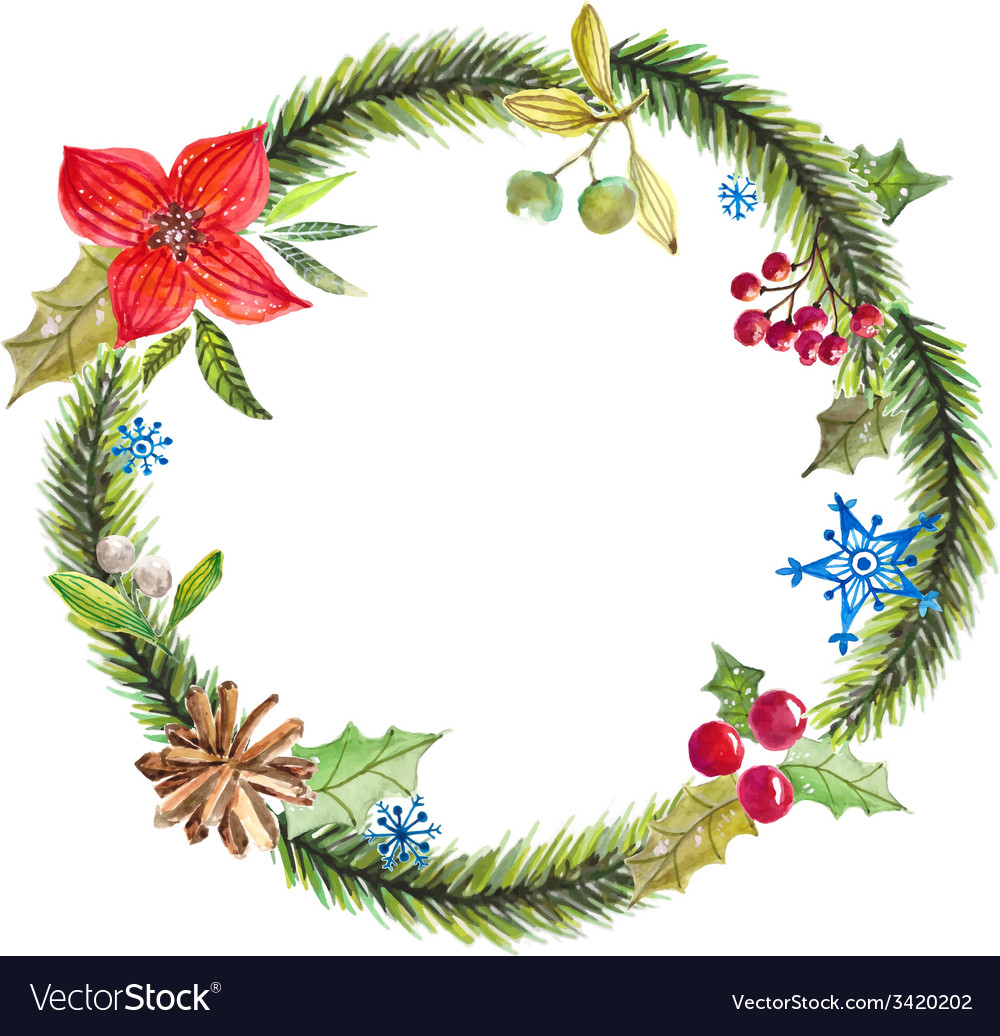 Green christmas wreath with decorations vector | Price: 1 Credit (USD $1)
