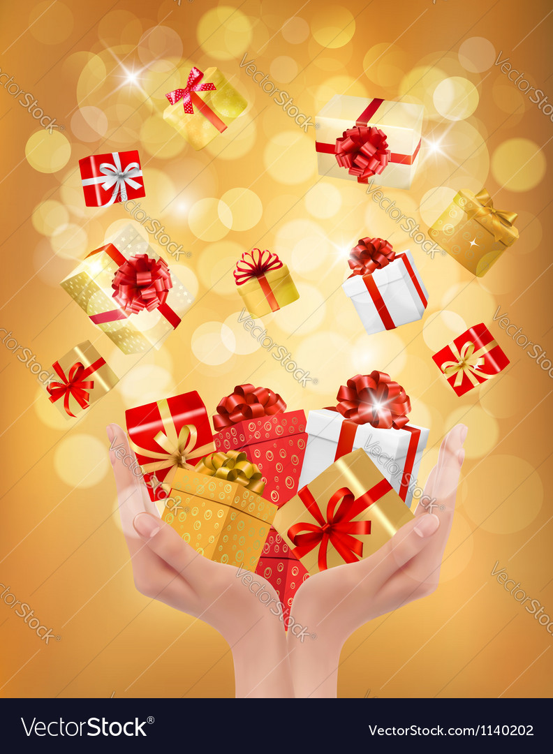 Holiday background with hands holding gift boxes vector | Price: 3 Credit (USD $3)