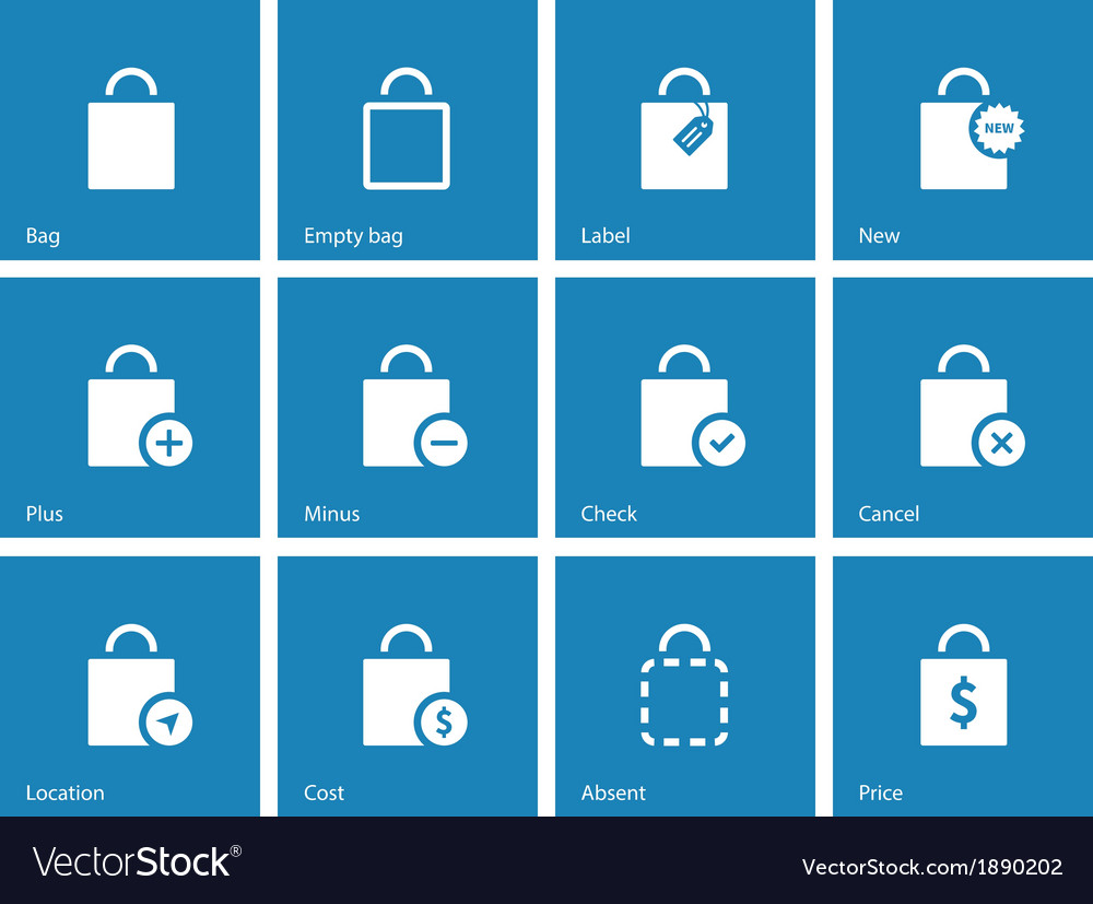 Shopping bag icons on blue background vector | Price: 1 Credit (USD $1)