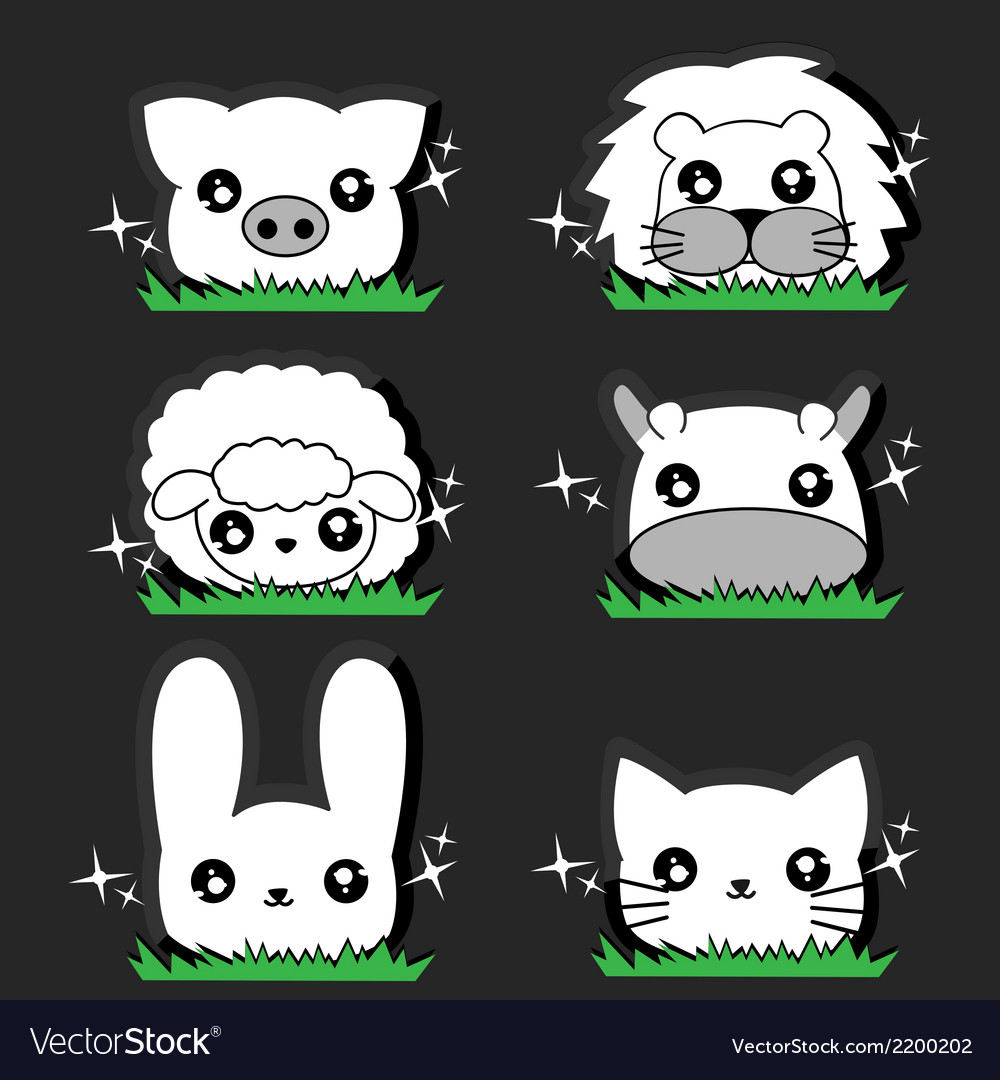 Wink little animal set vector | Price: 1 Credit (USD $1)