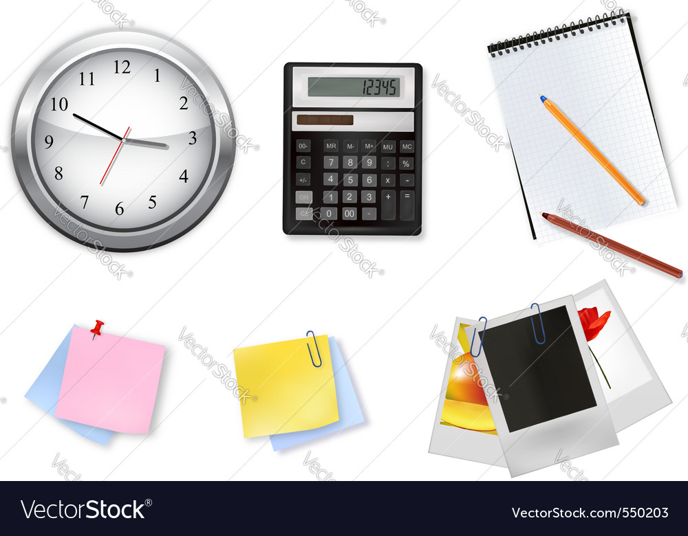 A clock and office supplies vector | Price: 3 Credit (USD $3)