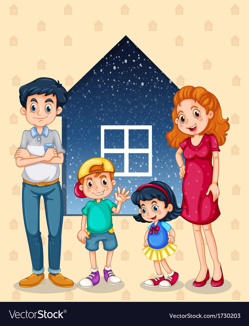 A family with four members vector | Price: 1 Credit (USD $1)