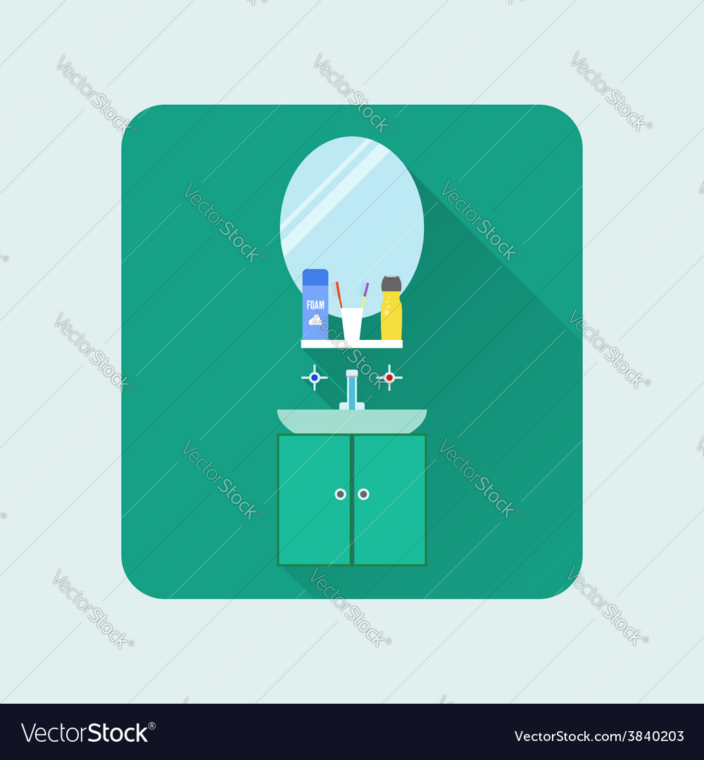 Bathroom interior icon washbasin and mirror soap vector | Price: 1 Credit (USD $1)