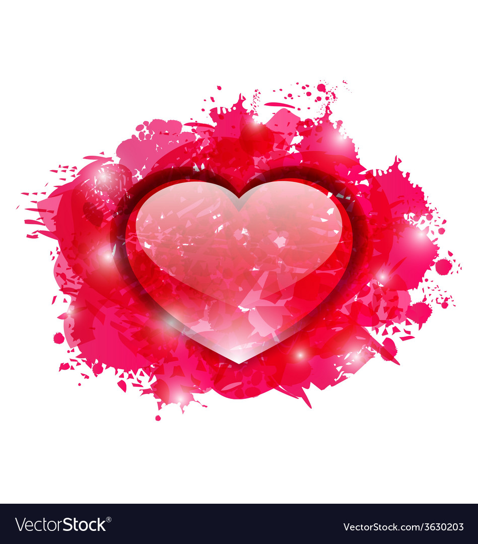Beautiful glassy heart on grunge pink blobs for vector | Price: 1 Credit (USD $1)