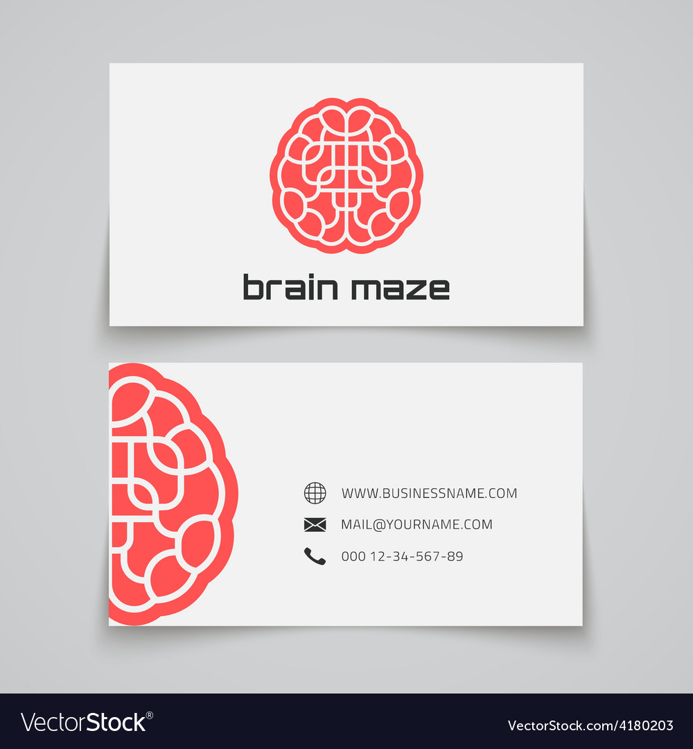 Business card template brain maze concept logo vector | Price: 1 Credit (USD $1)