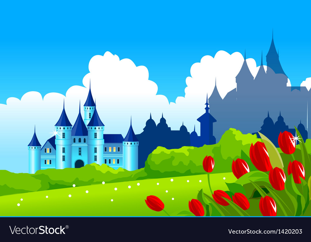 Castle landscape vector | Price: 1 Credit (USD $1)