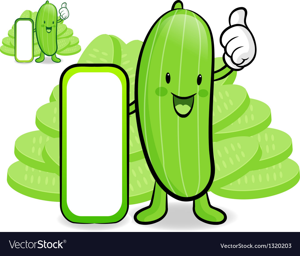 Cucumber characters to promote vegetable selling vector | Price: 1 Credit (USD $1)