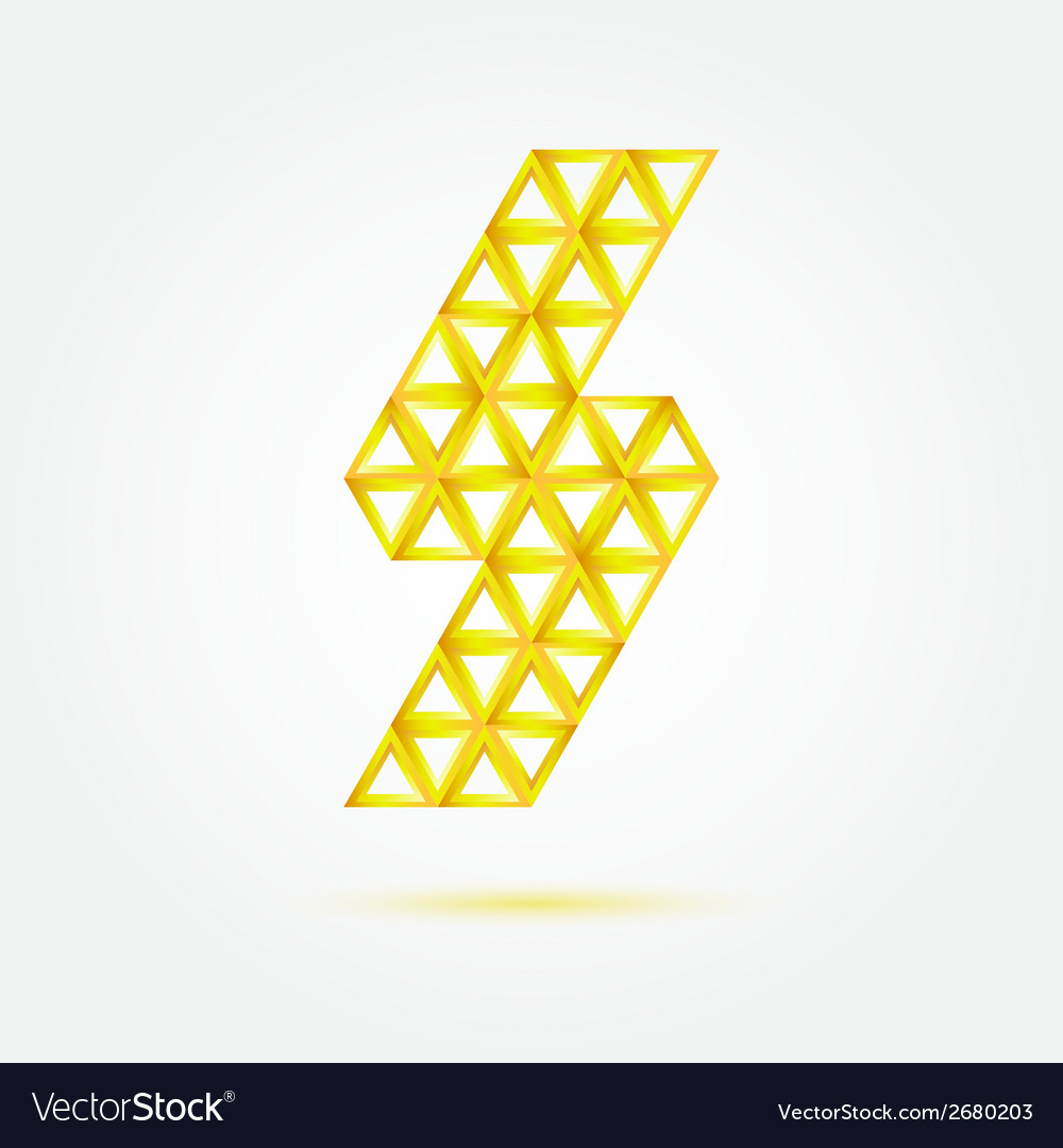 Flash lightning icon made with triangles - blue vector | Price: 1 Credit (USD $1)