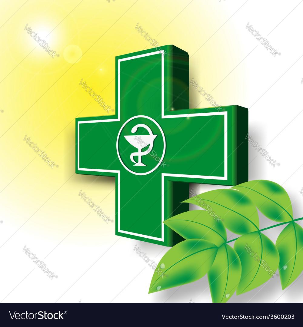 Green medical cross emblem vector   Price: 1 Credit (USD $1)