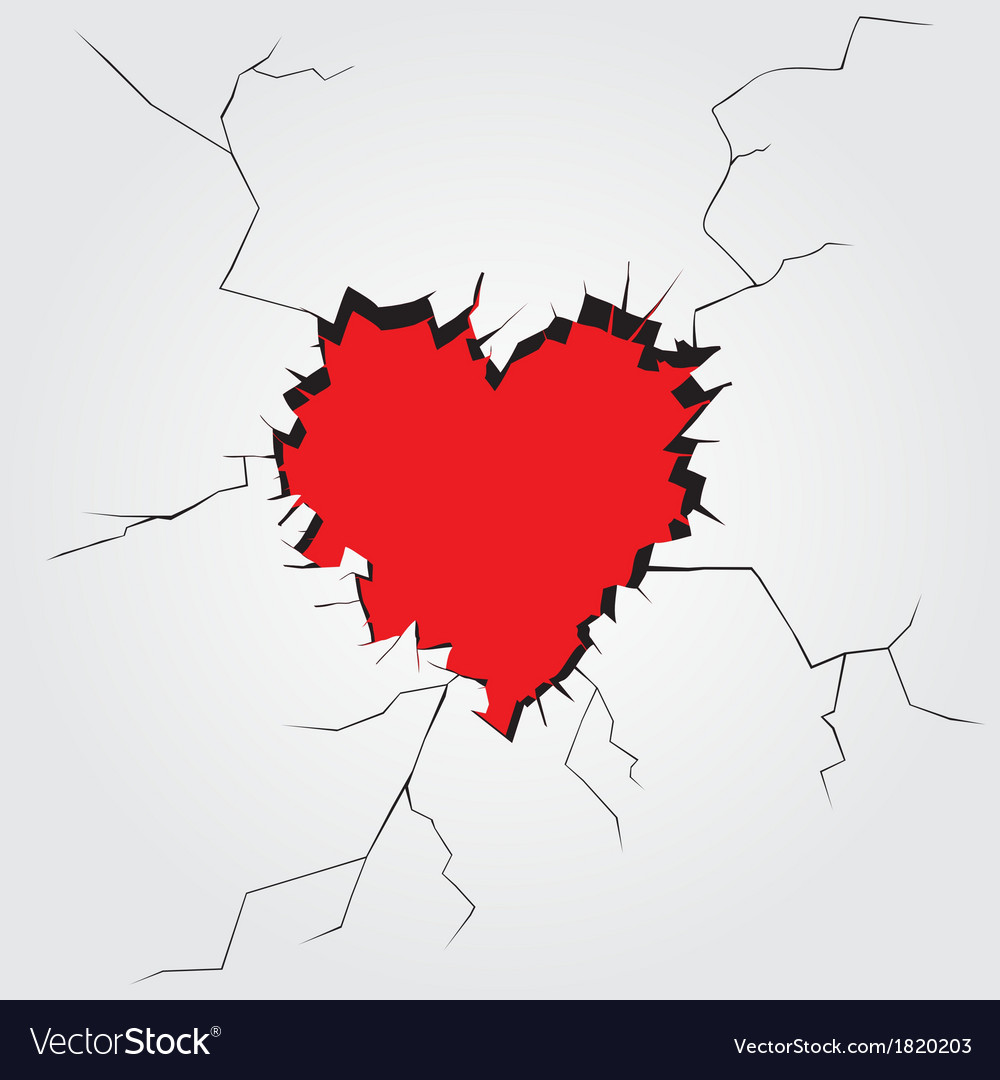 Hole in heart shape on the wall vector | Price: 1 Credit (USD $1)