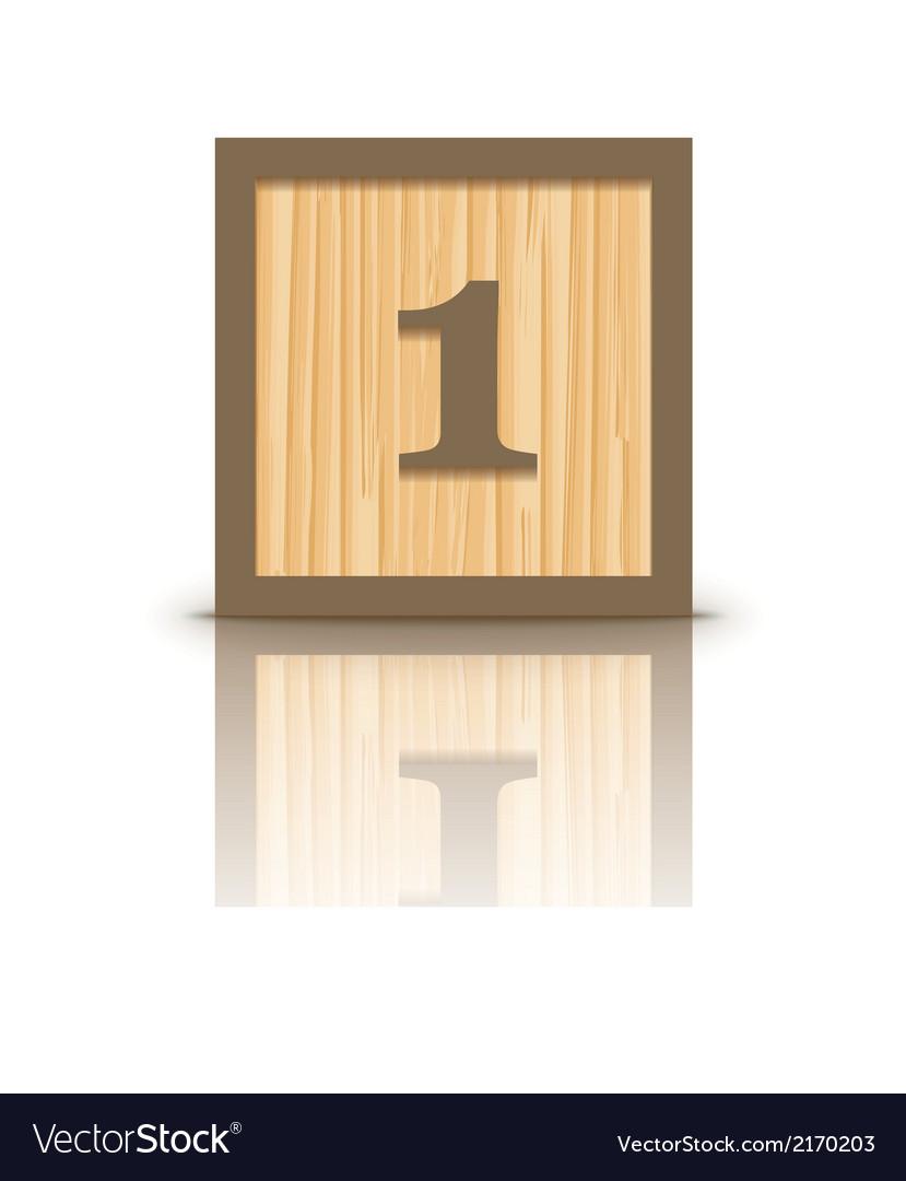 Number 1 wooden alphabet block vector | Price: 1 Credit (USD $1)