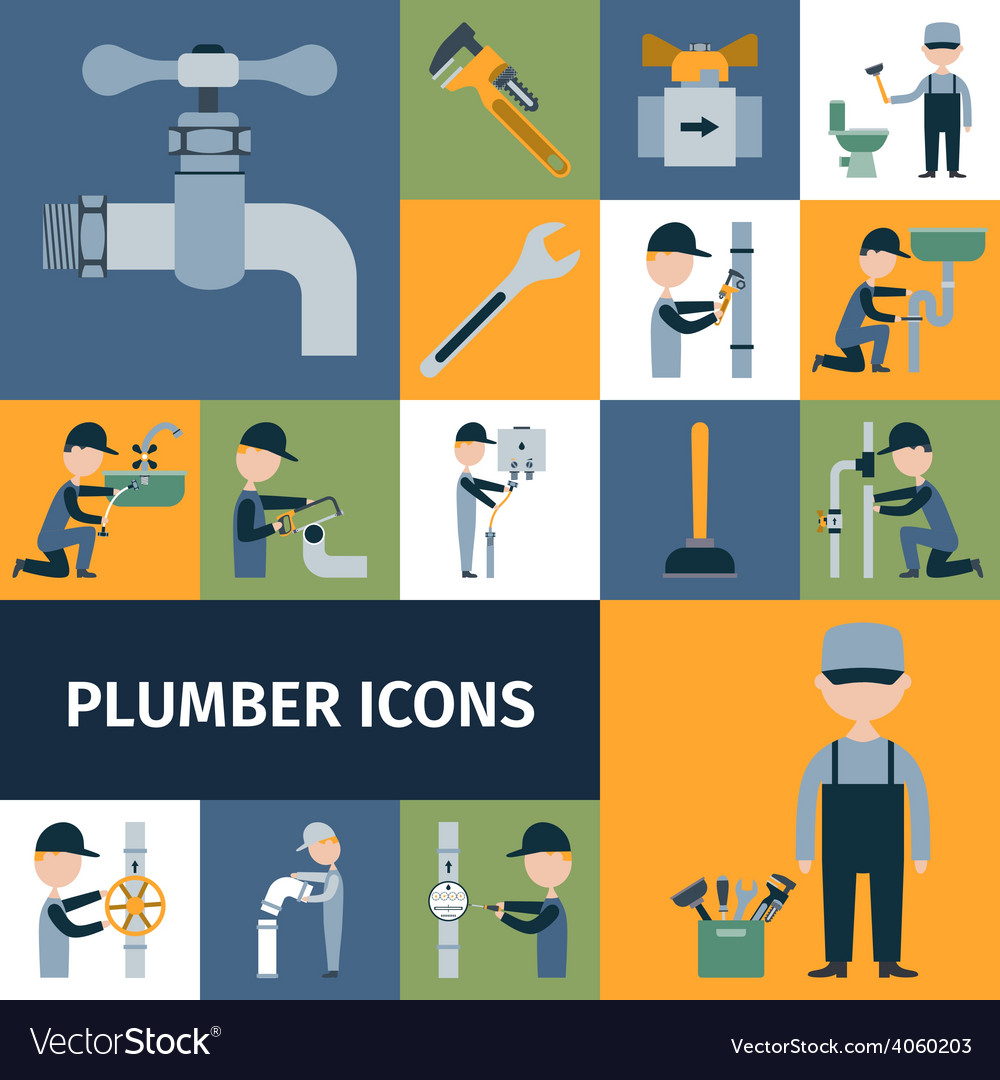 Plumber icons set vector | Price: 1 Credit (USD $1)