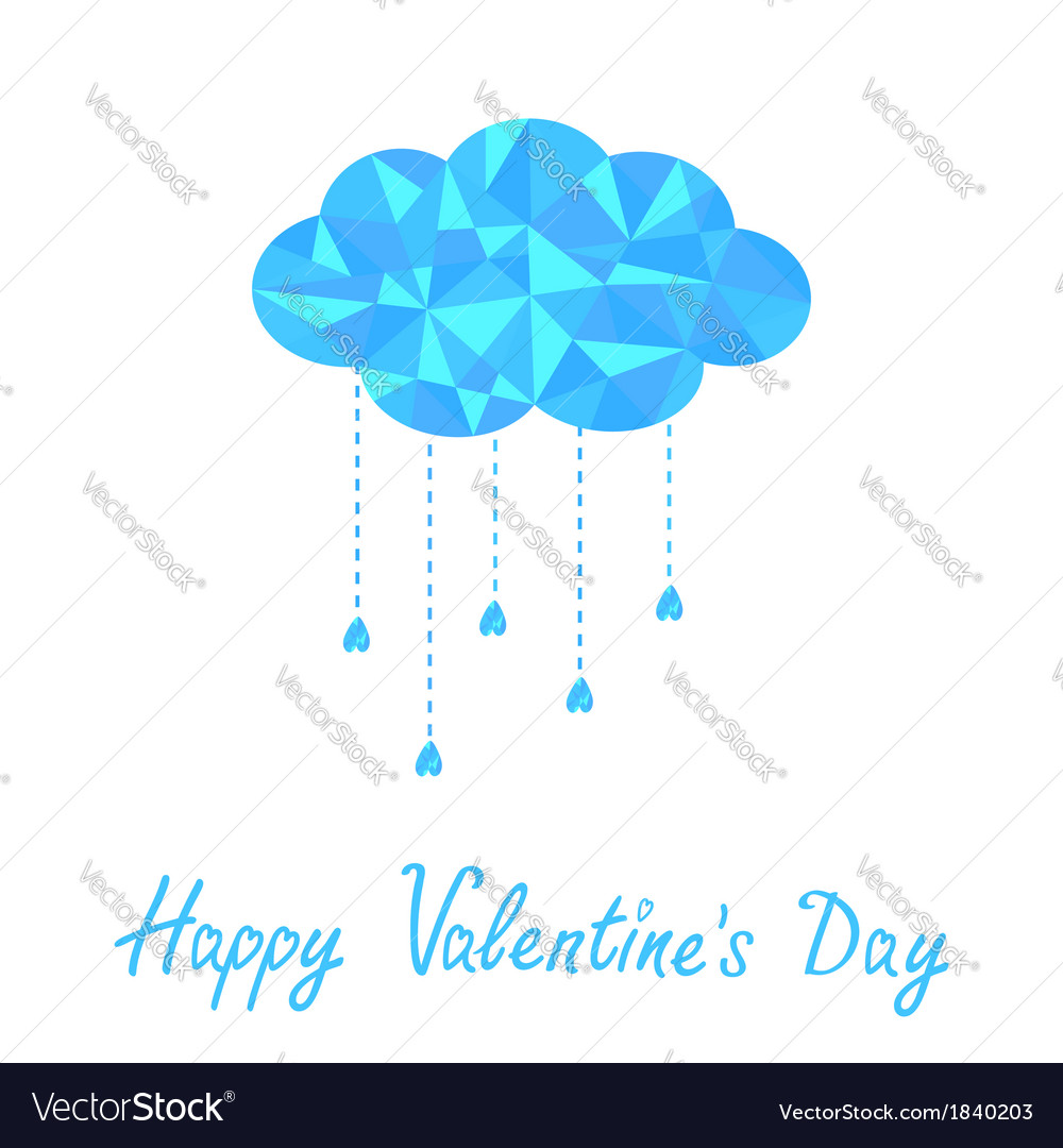 Polygonal cloud with rain drops valentines day vector | Price: 1 Credit (USD $1)