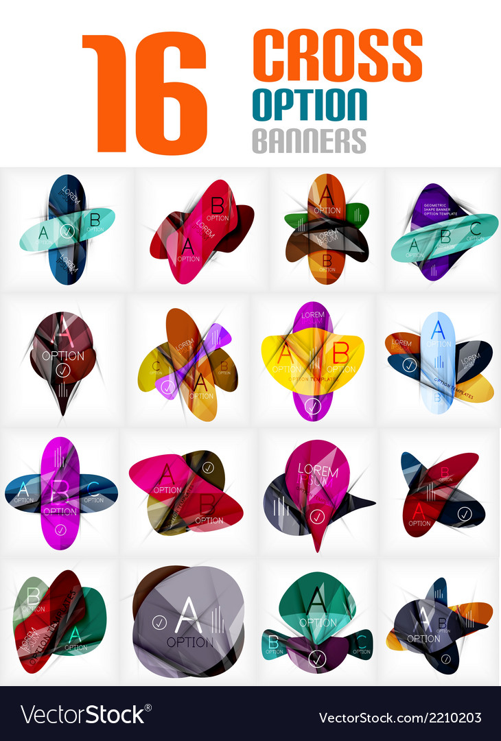 Set of cross abstract geometric shape infographics vector | Price: 1 Credit (USD $1)