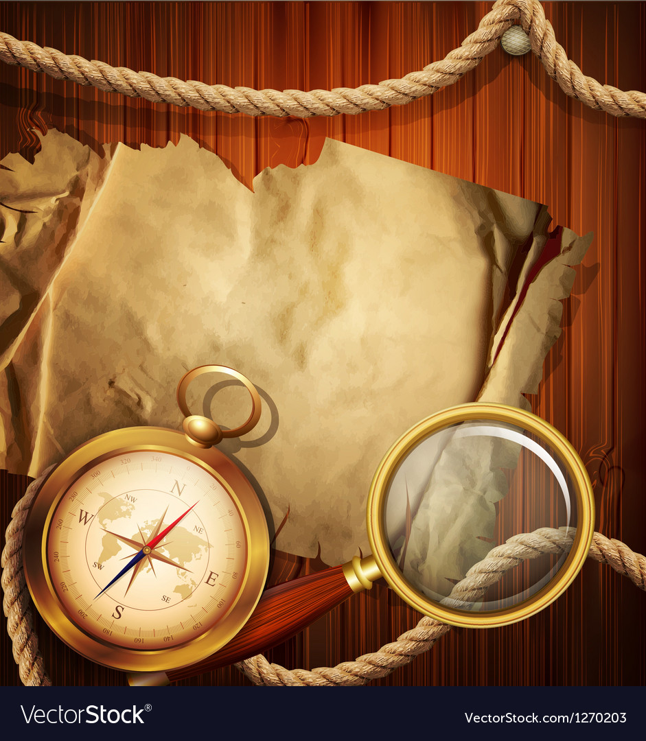 Vintage background with compass magnifying glass vector | Price: 3 Credit (USD $3)