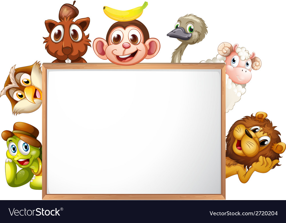 An empty signboard surrounded with animals vector | Price: 1 Credit (USD $1)