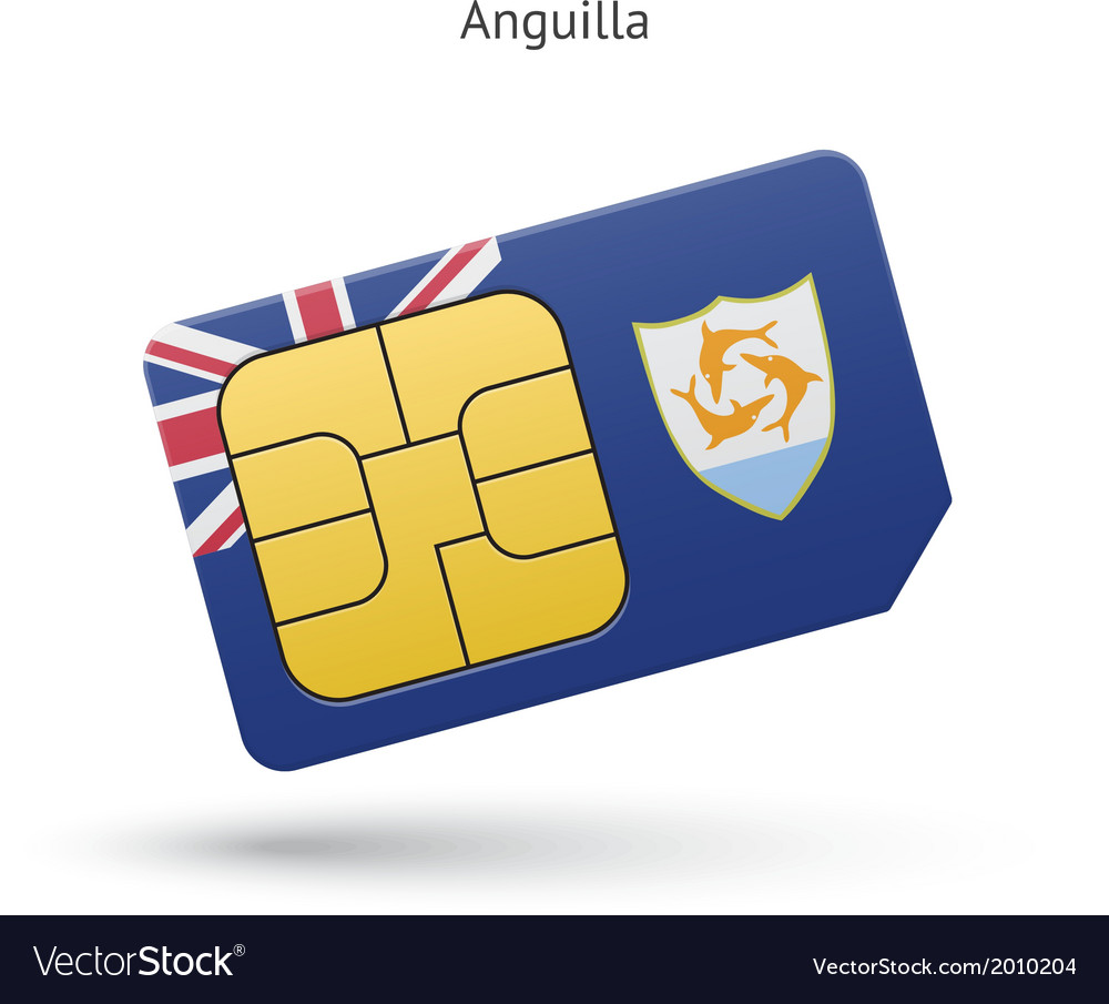 Anguilla mobile phone sim card with flag vector | Price: 1 Credit (USD $1)