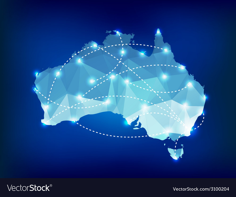 Australia country map polygonal with spot lights vector | Price: 1 Credit (USD $1)