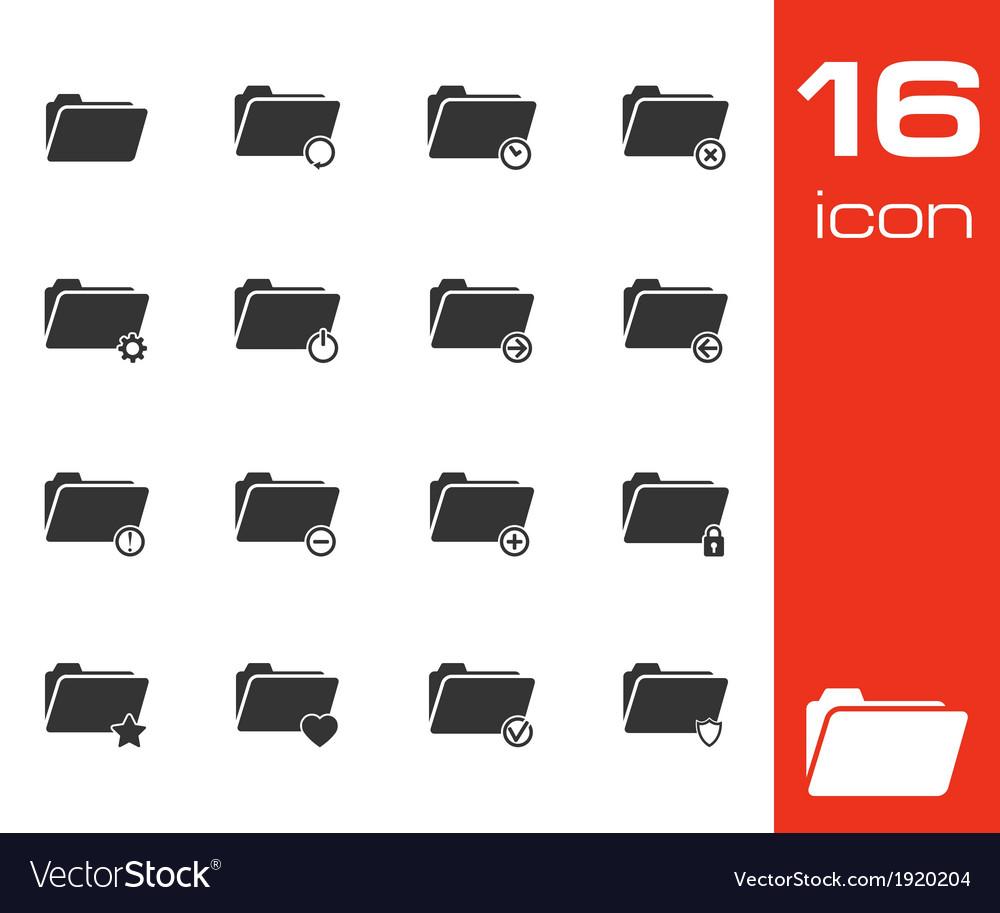 Black folder icons set on white background vector | Price: 1 Credit (USD $1)