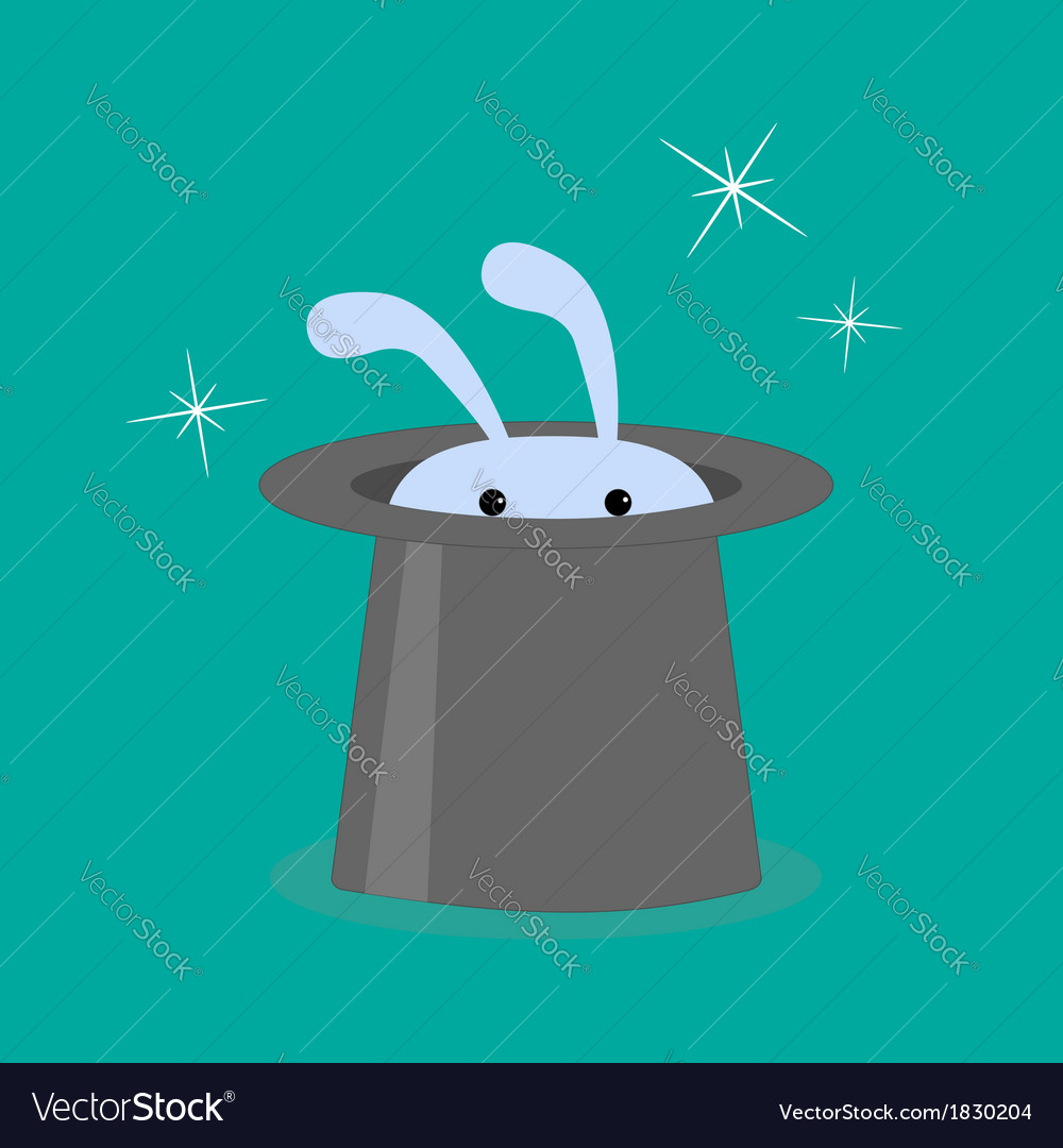 Bunny rabbit in magic hat vector   Price: 1 Credit (USD $1)