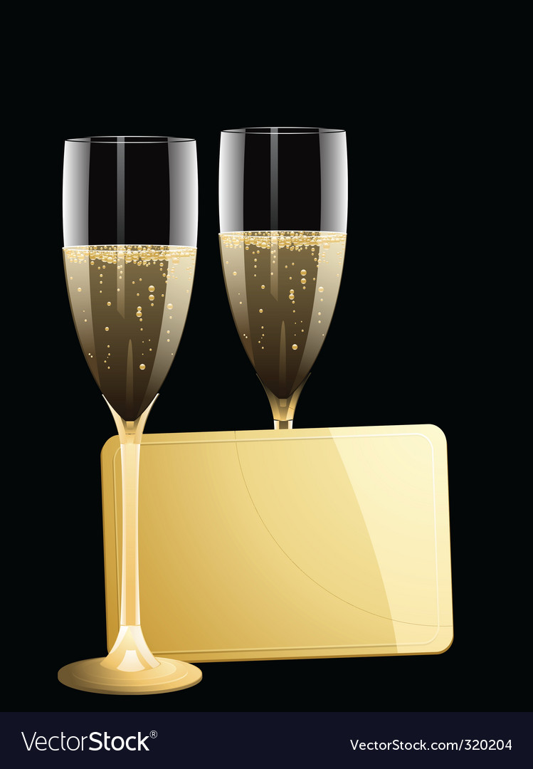 Champagne and gold message tag vector | Price: 1 Credit (USD $1)