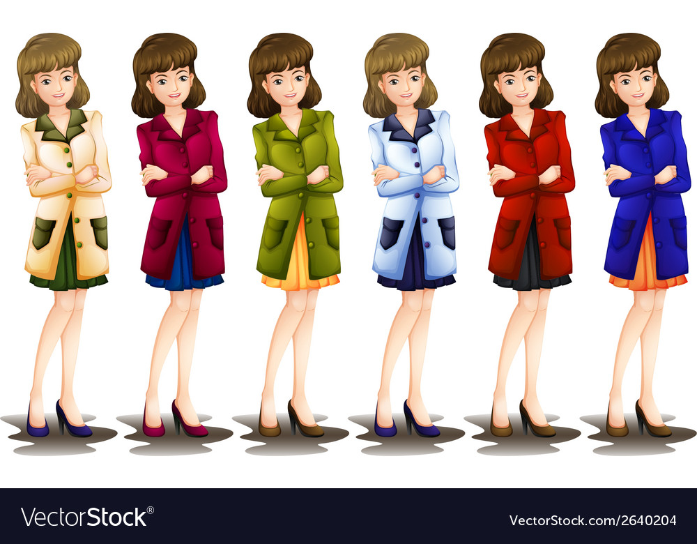 Female in different shades of a blazer vector | Price: 1 Credit (USD $1)