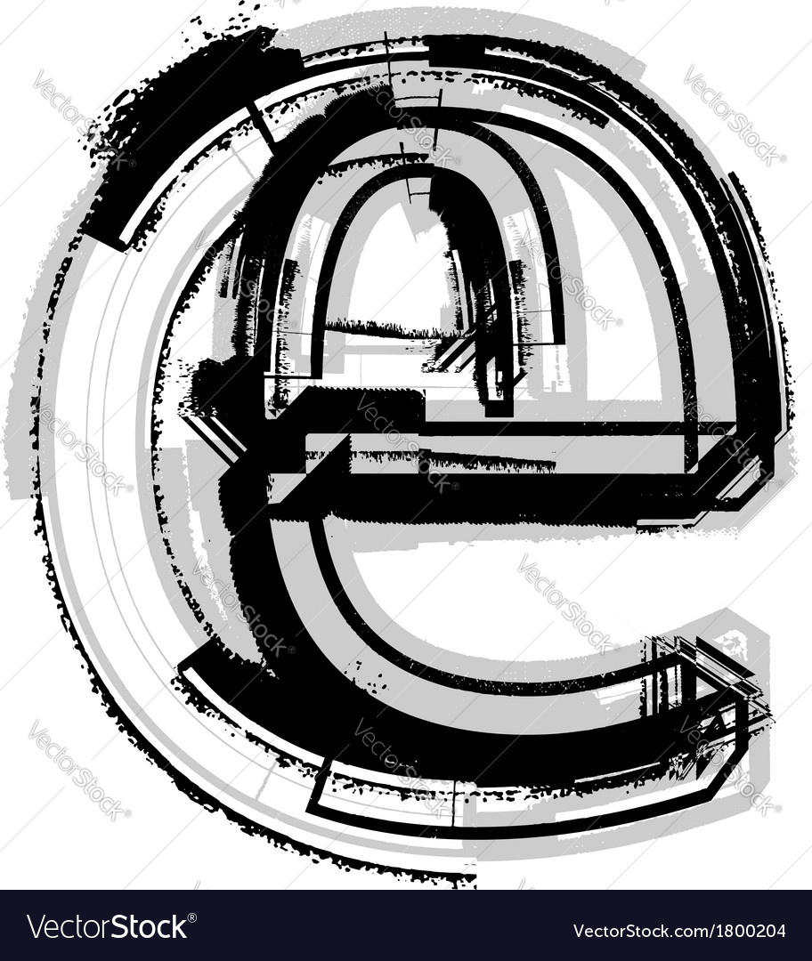 Grunge font letter e vector   Price: 1 Credit (USD $1)