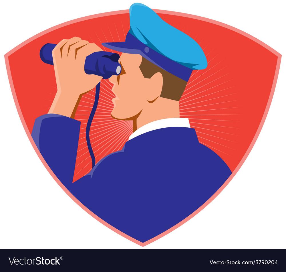 Navy captain looking binoculars shield retro vector | Price: 1 Credit (USD $1)
