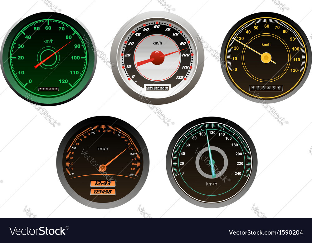 Racing cars speedometers set vector | Price: 1 Credit (USD $1)