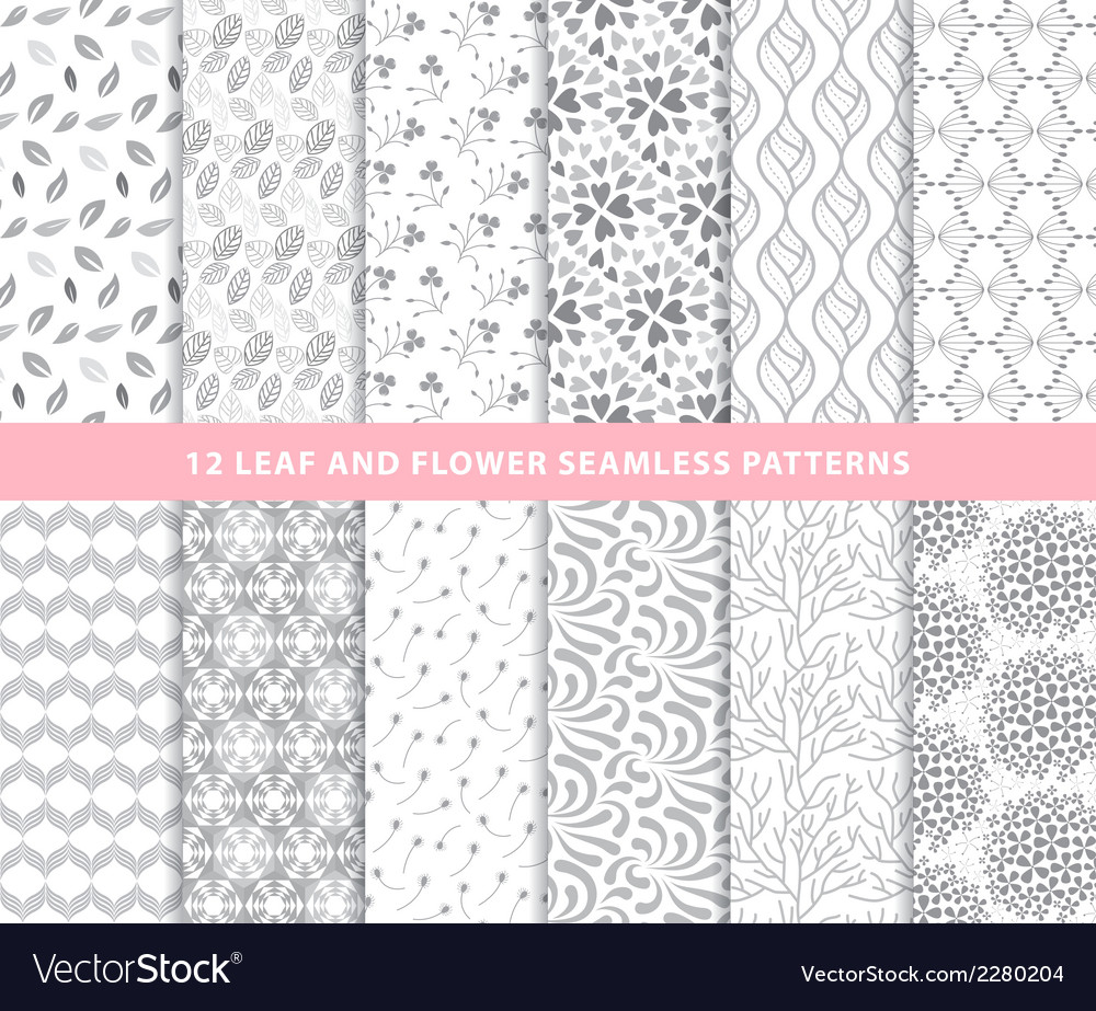 Set of leaf and flower seamless patterns vector | Price: 1 Credit (USD $1)