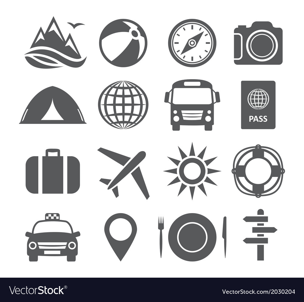 Tourism and travel icons vector