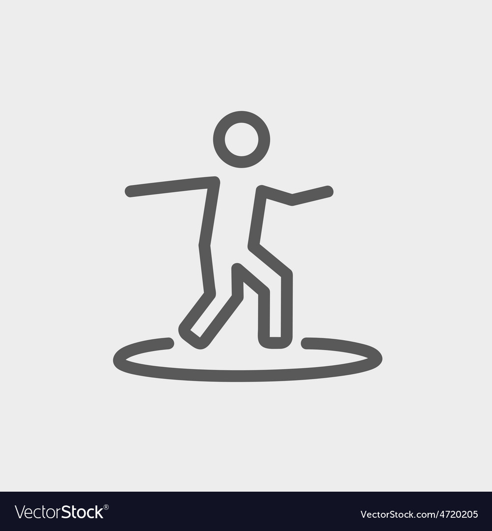 Boy on the surf board thin line icon vector   Price: 1 Credit (USD $1)