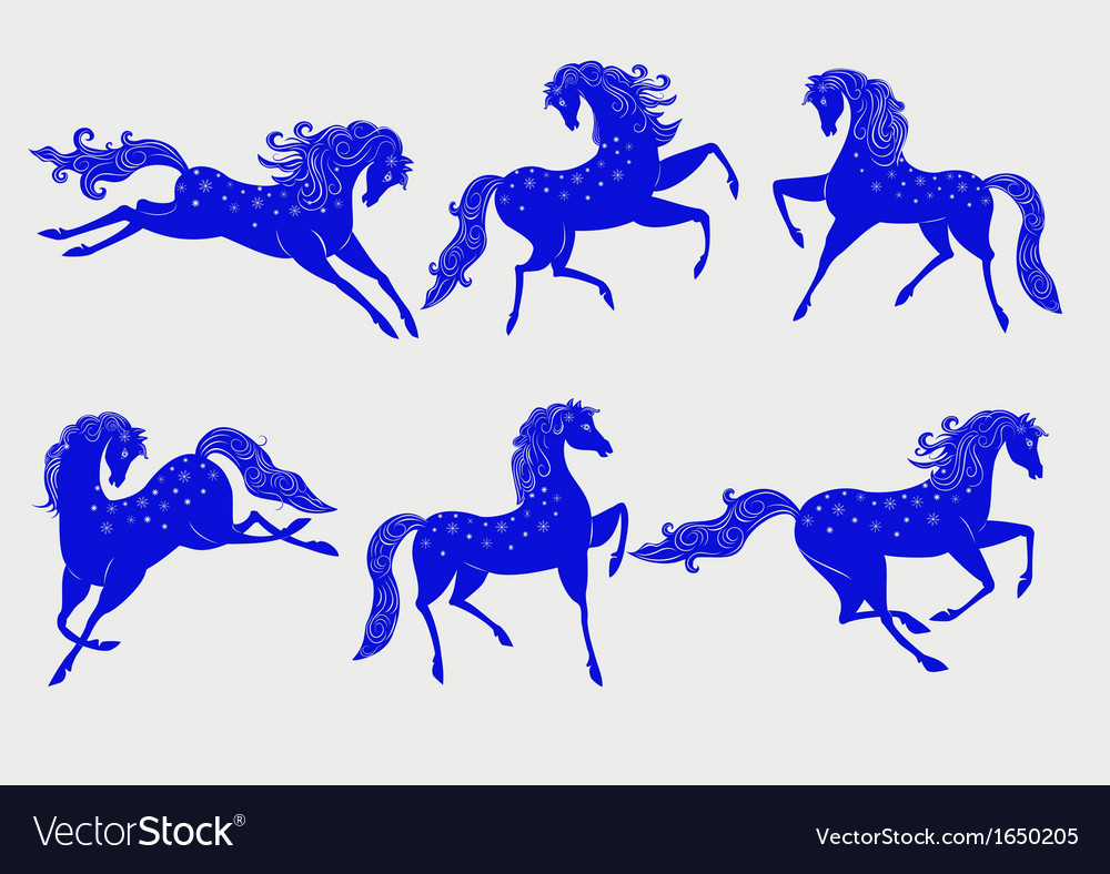 Collection of blue horses vector   Price: 1 Credit (USD $1)