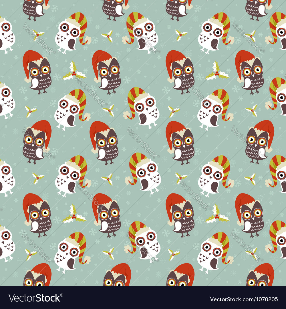 Cute christmas owl with presents seamless pattern vector | Price: 1 Credit (USD $1)