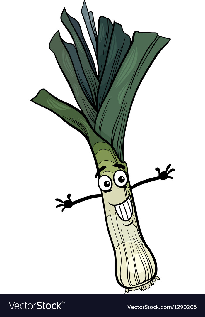Cute leek vegetable cartoon vector | Price: 1 Credit (USD $1)