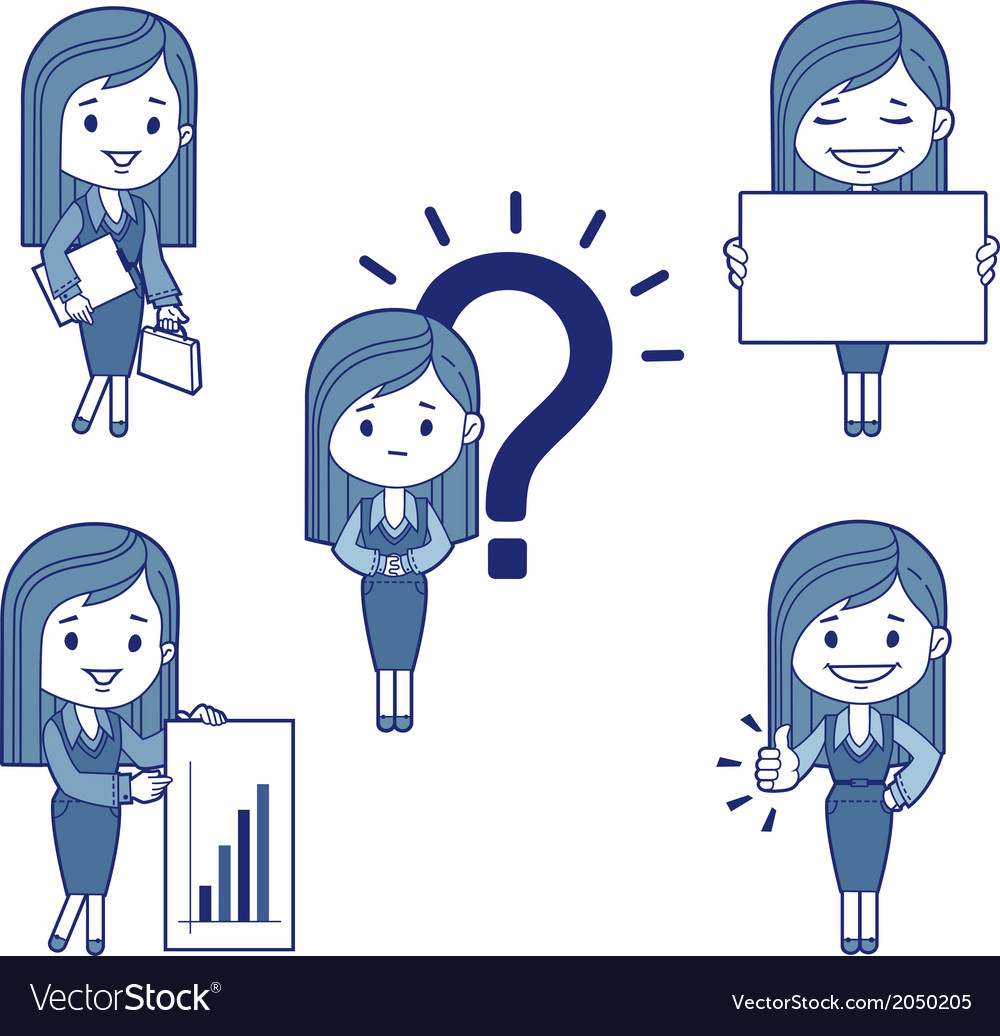 Five character business women vector | Price: 1 Credit (USD $1)
