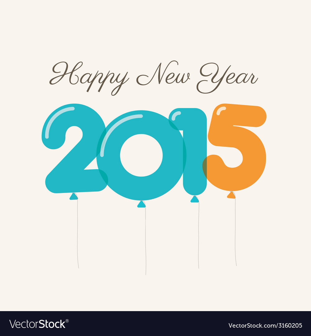 Happy new year 2015 card balloons type vector