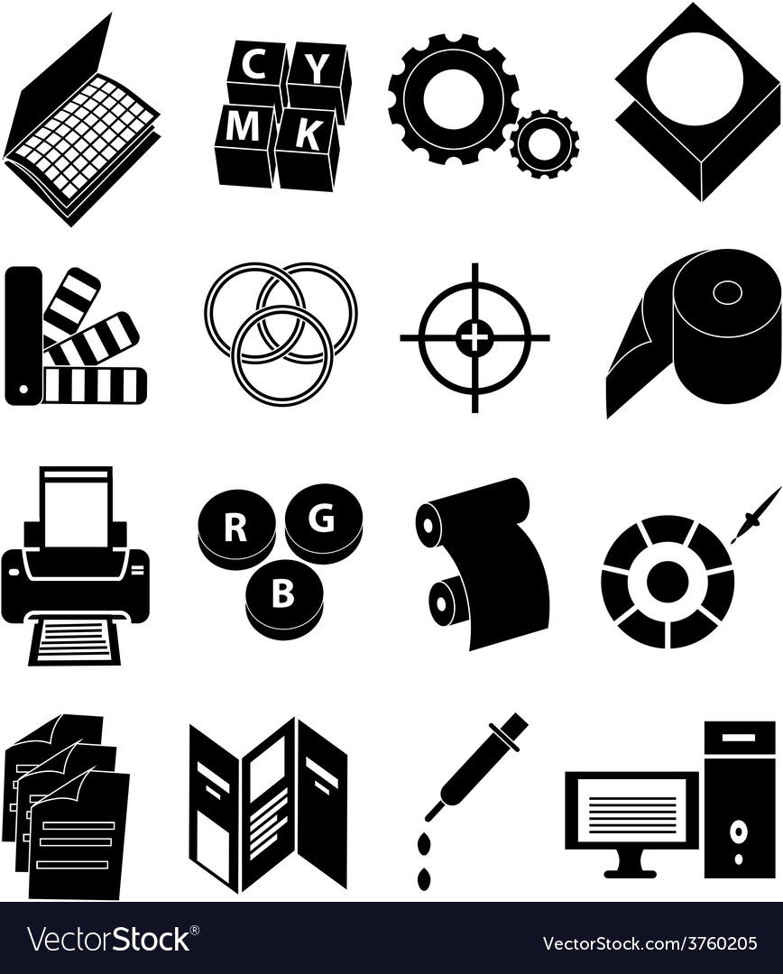 Print press icons set vector | Price: 1 Credit (USD $1)