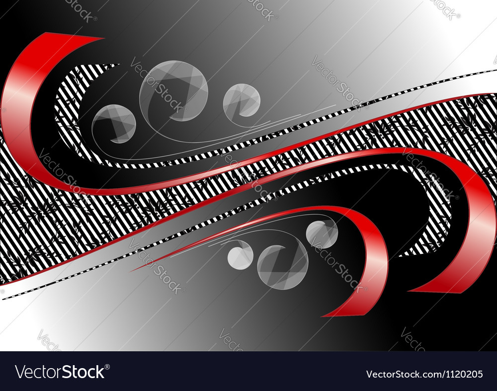 Red curves strips on satin black background vector | Price: 1 Credit (USD $1)