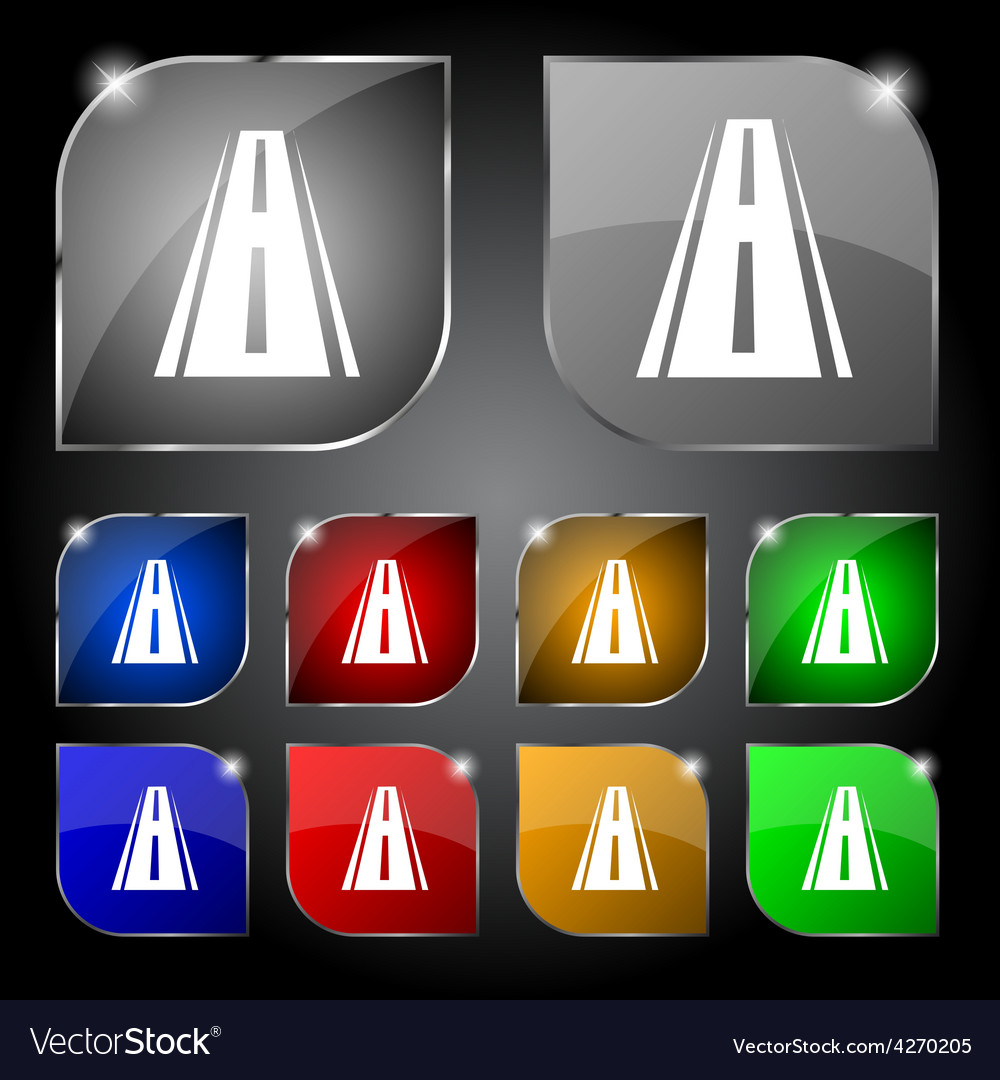 Road icon sign set of ten colorful buttons with vector | Price: 1 Credit (USD $1)