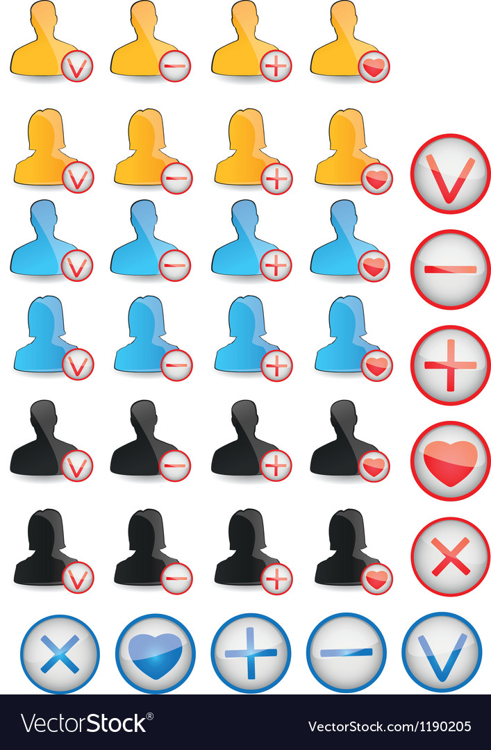 Set female and male profile elements vector | Price: 1 Credit (USD $1)
